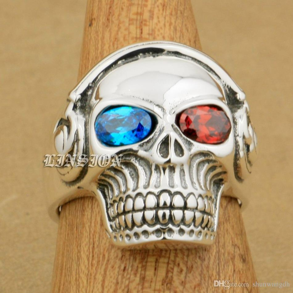LINSION Blue + Red CZ Eyes 925 Sterling Silver DJ Skull Studio Music Headphone Mens Boys Biker Rock Punk Ring 8Y711 US Size 7 to 15