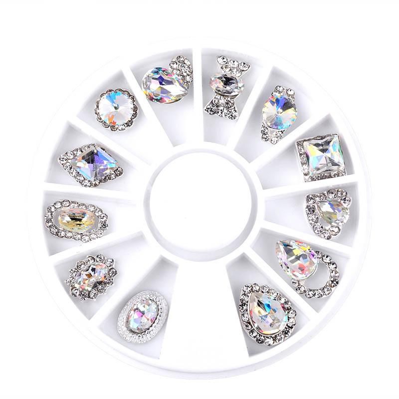 New 12pcs/Box Nail Art Rhinestone Charm Clear AB Alloy Nail Crystal Decorations Wheel 3D Mix Designs Manicure Tools Sale