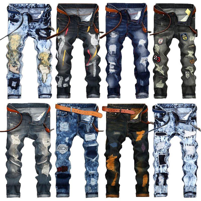 Moda Mens Vintage rasgado Calças Jeans Slim Fit afligido Hip Hop Denim masculino fresco novidade Streetwear Jean Calças Hot Sale