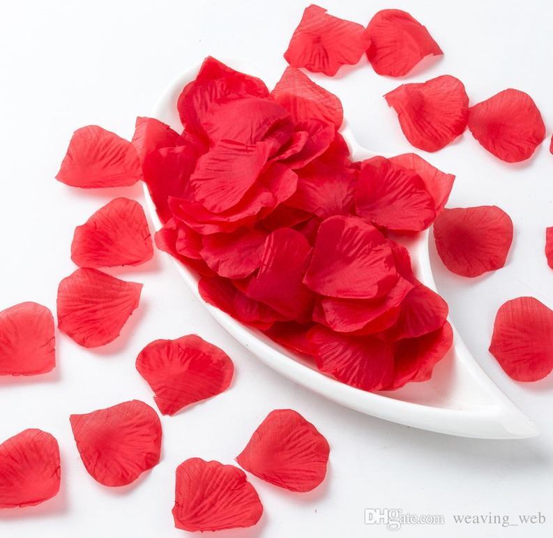 Artificial Flowers Rose Petal 100 PCS / SET Artificial planta falso Red Flowers Decoração do casamento Pétala