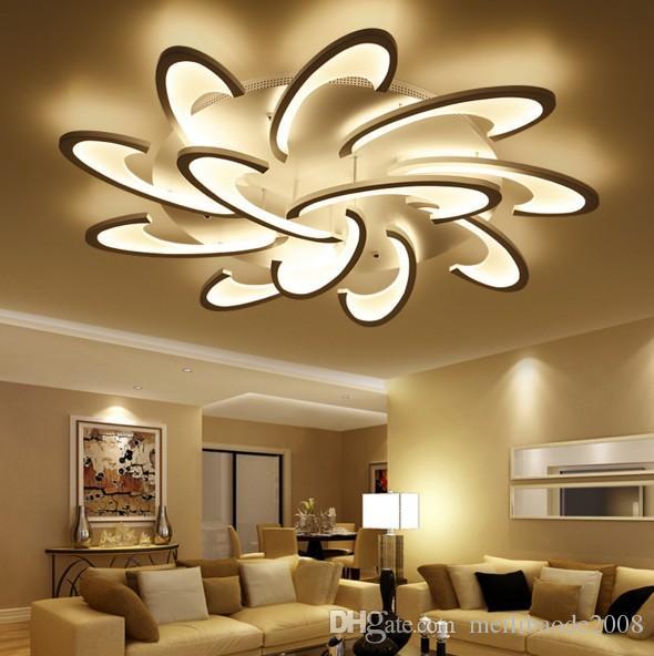 Lámparas modernas de luces de techo LED montadas en superficie para sala de estar Dormitorio Lámparas blancas / negras Lámparas de pantalla de acrílico Iluminación de lámparas