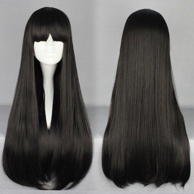 MCOSER buon grado nero lolita stile cerniera 70cm moda lungo rettilineo con frangia parrucca cosplay spedizione gratuita