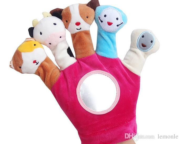 1 Pair Cute Animal Hand Puppet Dolls Plush Baby Hand Glove Puppet Finger Toy for Children Bedtime Stories