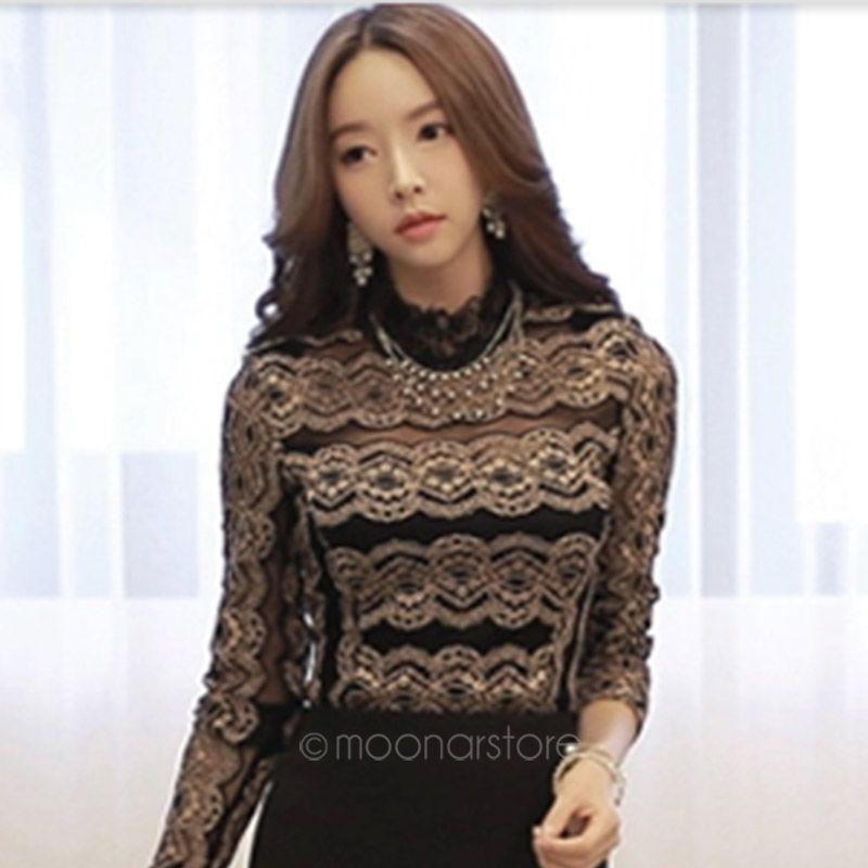 2015 новые летние сексуальные женские элегантные черные кружевные блузки с длинным рукавом старинные рубашки выдалбливают вязаные топы размер S-XXL