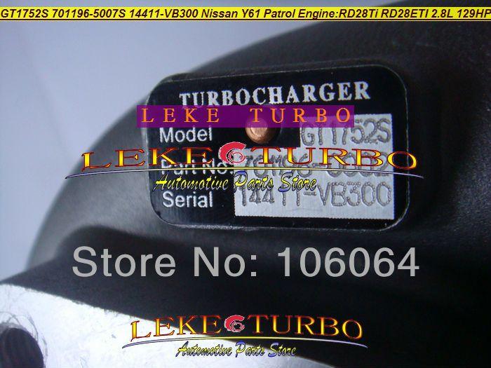 GT1752S 701196-5007S 14411-VB300 NISSAN Y61 PATROL RD28Ti RD28ETI 2.8L RD28T 129HP turbocharger (5)