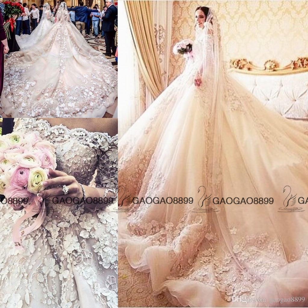 discount 2019 michael cinco luxury 3d floral wedding dresses modest arabic  dubai off shoulder half sleeve princess church bridal wedding gowns wedding
