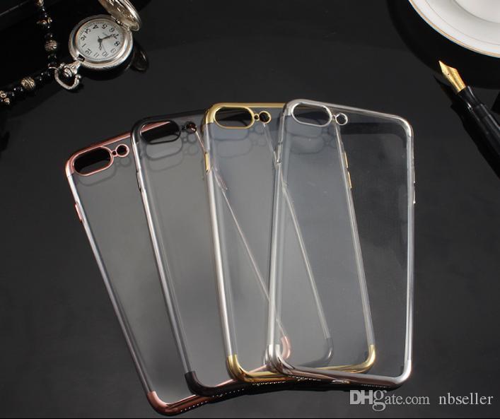 Elektrolizle Kaplama Gilded IPHONE 6 6S PLUS 7 PLUS için ultra ince durumda Üç Aşamalı Hollow yumuşak TPU Şeffaf Şeffaf Koruyucu Kapak Kılıf