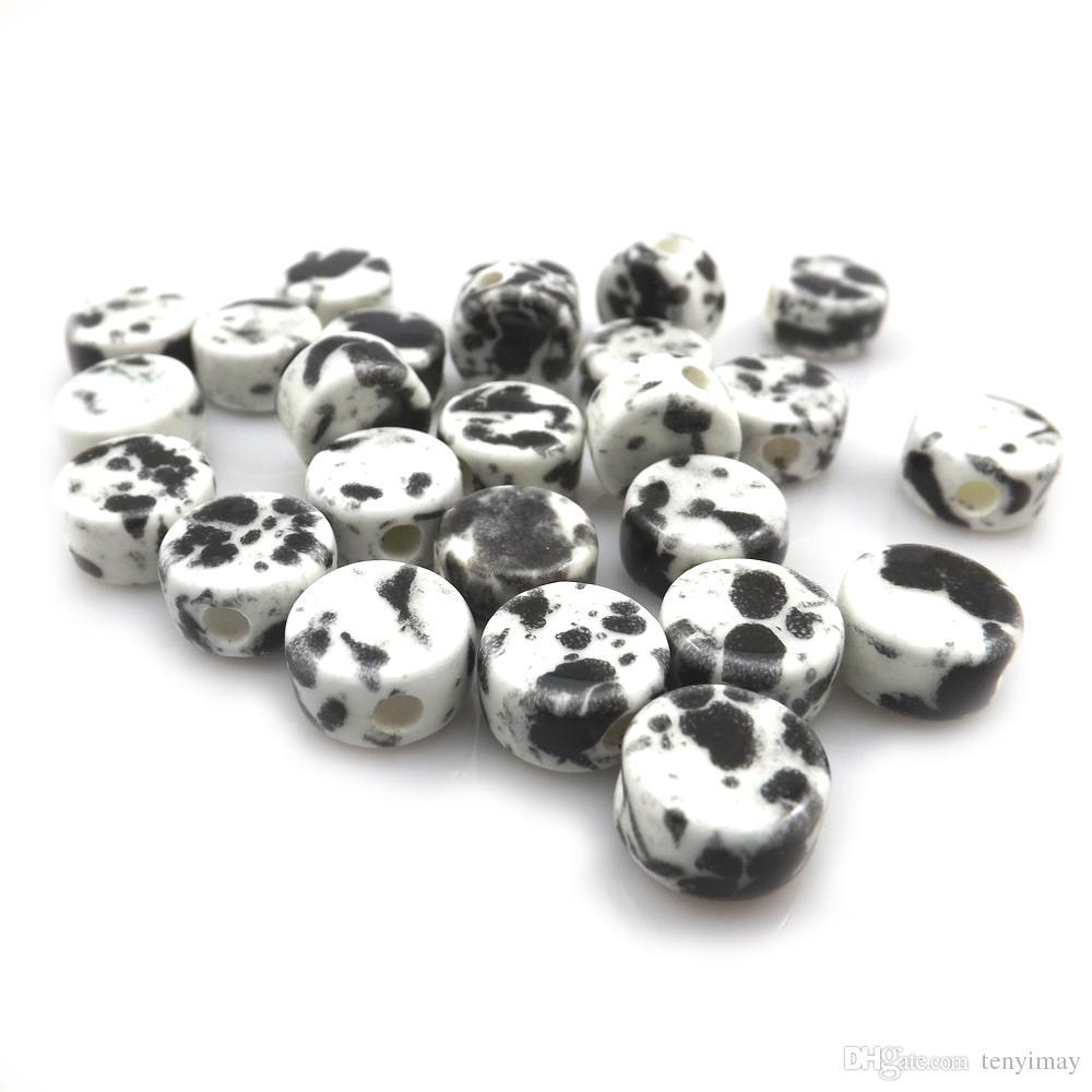 ファッション12x7mmブラックホワイトボタン形セラミックルーズビーズのジュエリーDIY 100ピース/ロット送料無料