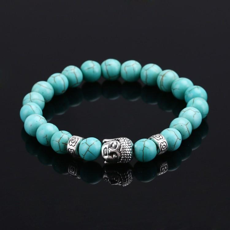 Grânulos de Buddha Pulseiras Pulseiras Corda Elástica Cadeia Pedra Natural Amizade Pulseiras Para Mulheres e Homens Jóias