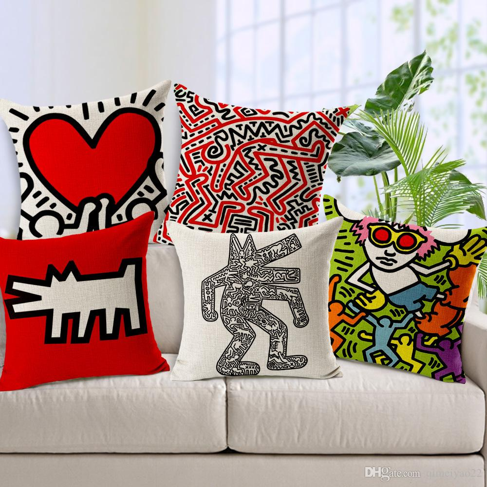 Keith Haring Cushion Cover Modern Home Decor Throw Pillow Case Car Seat Vintage Nordic Cushion Cover for Sofa Decorative Pillow Cover