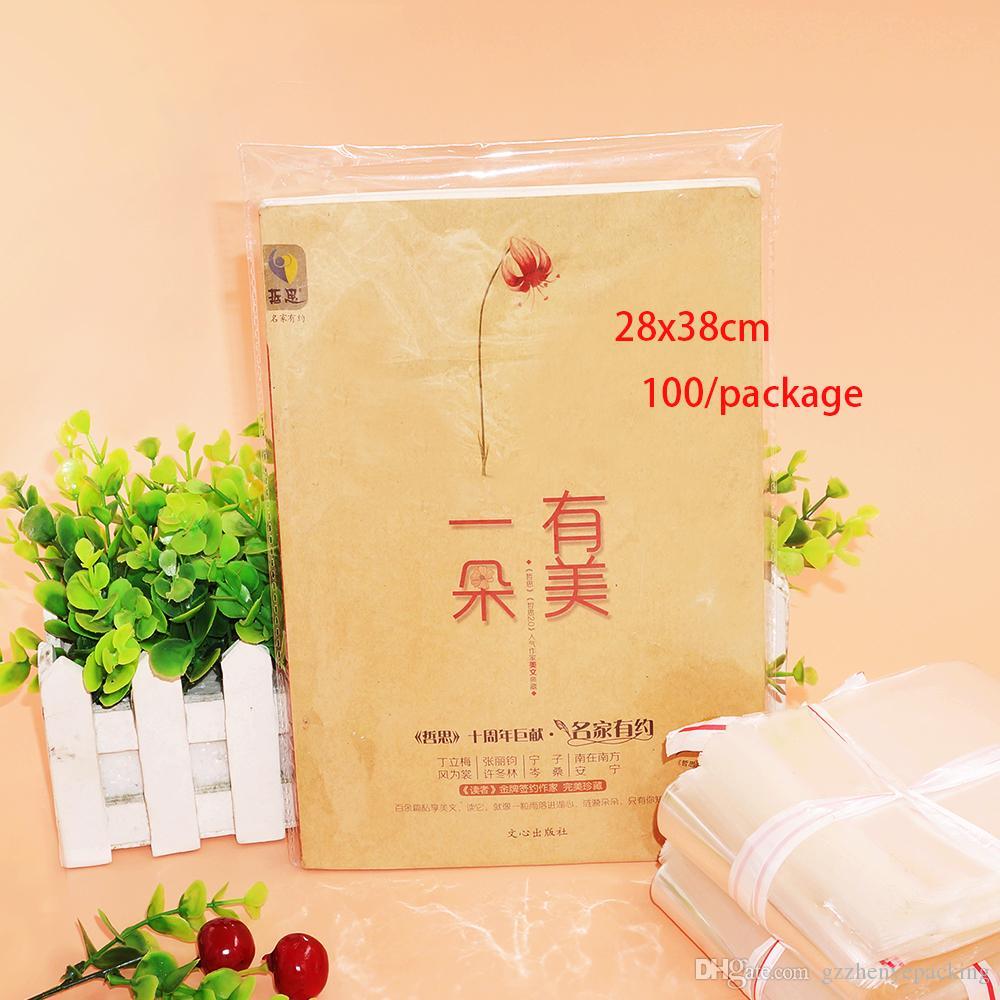 Sacs en plastique transparent 28 * 38cm Sac de rangement Magazines Vêtements Papeterie Accessoires Emballage Sac auto-adhésif Spot 100 / paquet