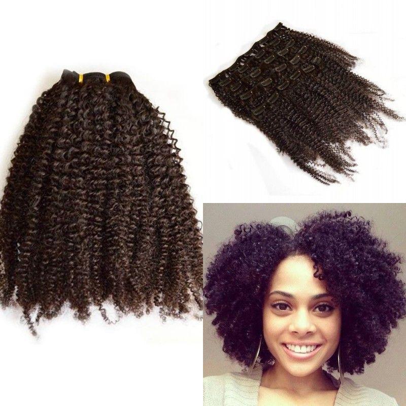 / Set FDSHINE SAÇ Siyah Kadınlar 7 Adet için İnsan Saç Uzantısı Peru Saç Afro Kinky Kıvırcık Klip