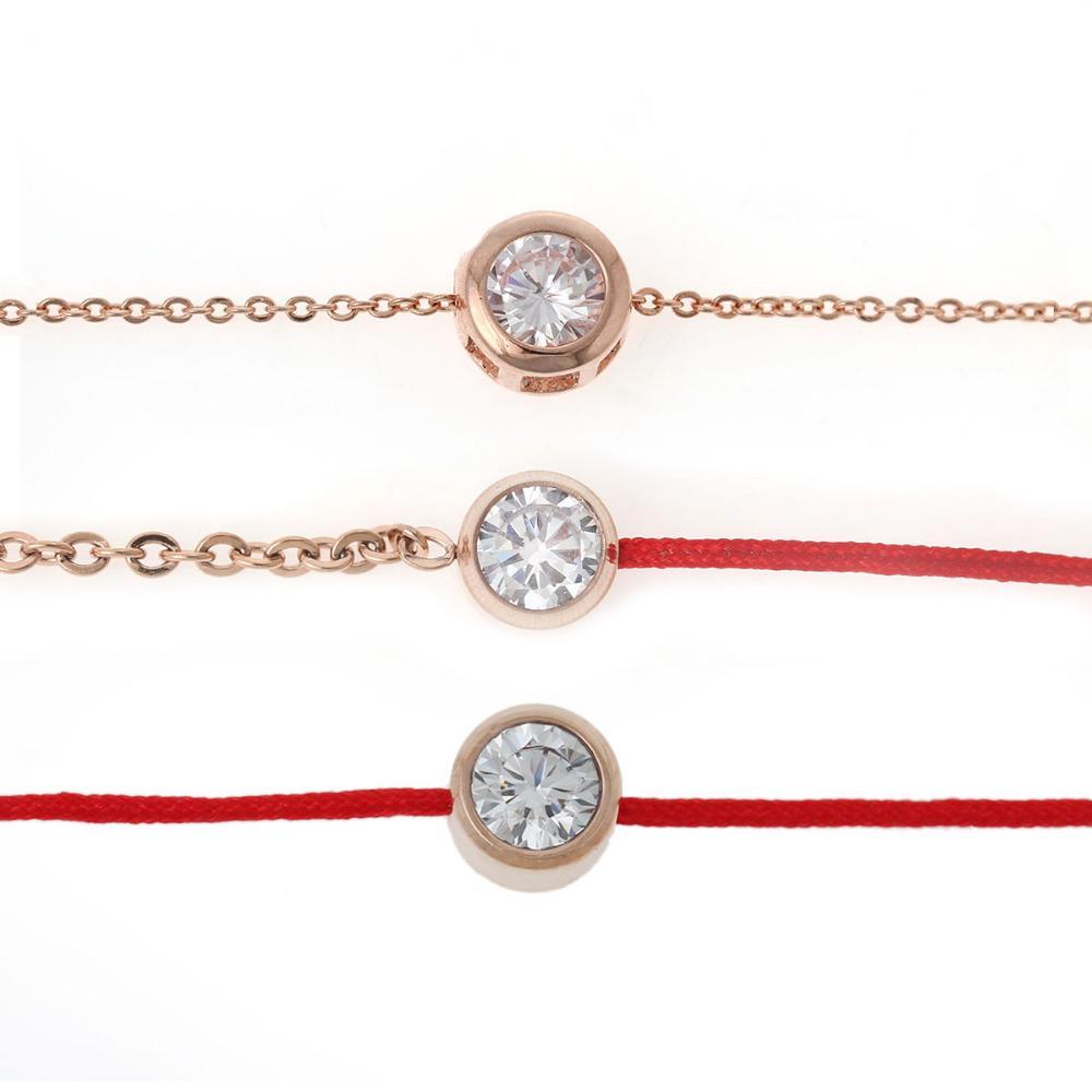 Großverkauf-8 JAHRESZEITEN Titanstahlzirkonia rosafarbenes Gold überzog Gliederkette glückliche rote Linie Armbandarmbandart und weisegeschenk Rhinestone