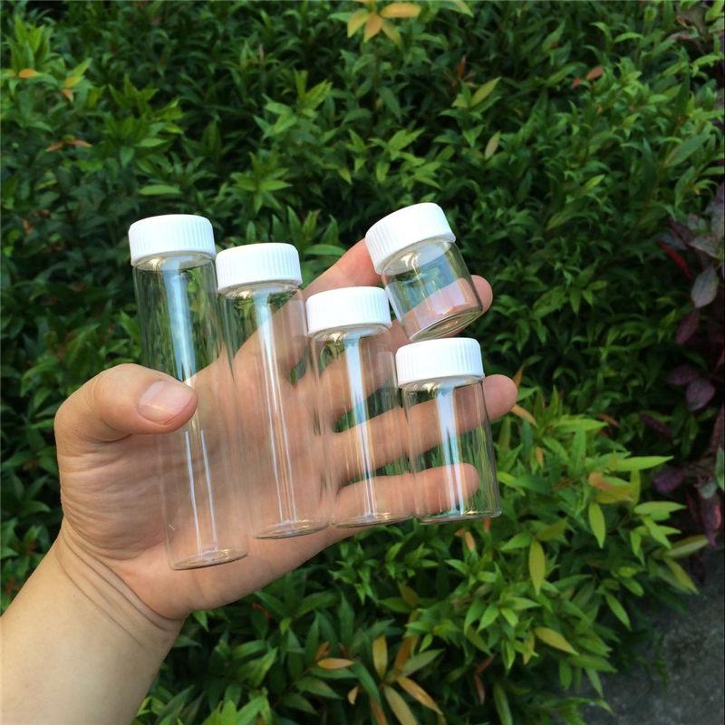 Glass Bottles Plastic Cap White Screw Transparent Glass Vials Plastic Bottles 15ml 25ml 40ml 50ml 60ml Jars Bottles5
