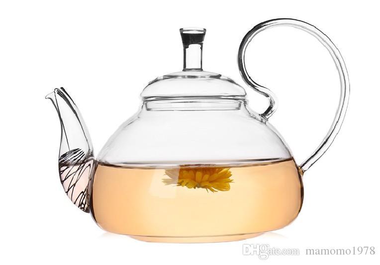 1 PC 600 ml Résistant À La Chaleur Avec Haute Poignée Fleur Café Verre Thé Pot Blooming Chinois Théières En Verre J1011-2