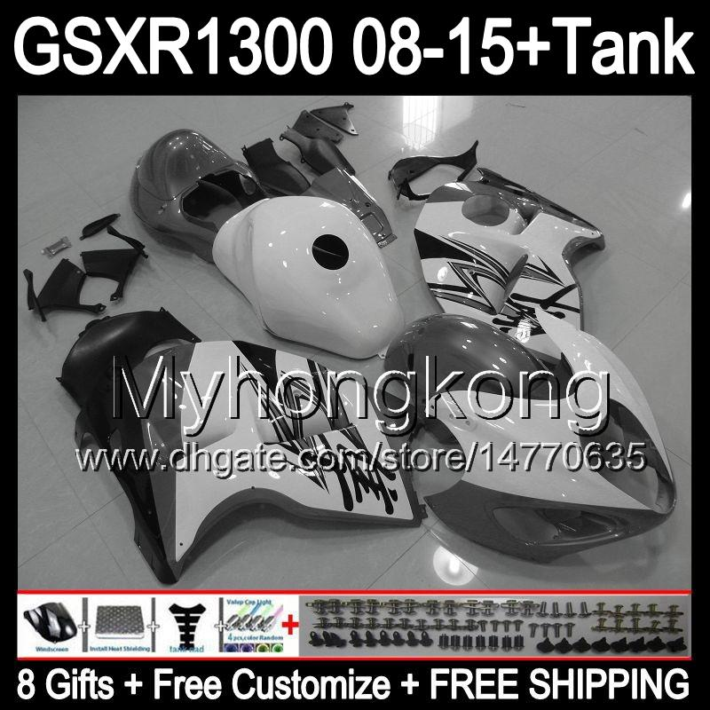 blanc brillant 8gifts Pour SUZUKI Hayabusa GSXR1300 08 15 GSXR-1300 14MY116 GSXR 1300 GSX R1300 08 09 10 11 12 13 14 15 Kit carénage gris blanc
