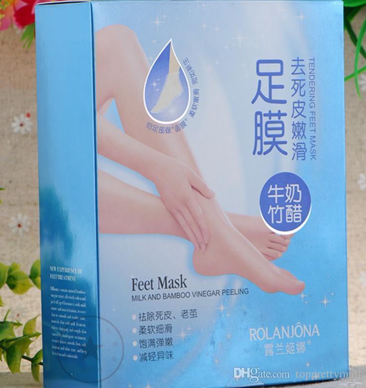2017 New Rolanjona Milk Bamboo Vinegar Feet Mask Peeling Exfoliating Dead Skin Remove Professional Feet Mask Foot Care 4pairs