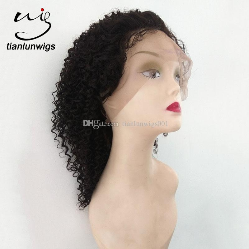 high quality 14inch kinky curly full lace wig for black women human hair lace front wig natural color