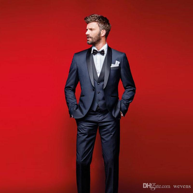Dark Navy Wedding Tuxedos Slim Fit Suits For Men Jacket Vest And Pants Groomsmen Suit Three Pieces Prom Formal Suits With Bow Tie