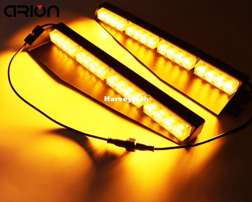 32W Amber Yellow 32 LED Car Truck Work Light bar Strobe Warning Flash lights Visor Deck Dash Emergency Lamp