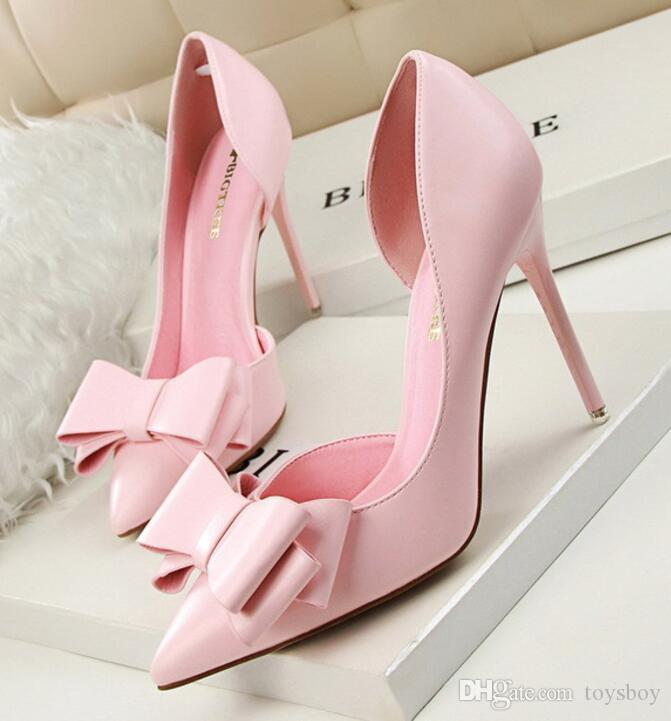 Nouveau printemps été femmes pompes doux bowknot chaussures à talons hauts mince rose chaussures à talons hauts creux pointu stiletto élégant
