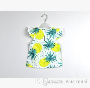 Summer wear girls two-piece fashion fruit printing short sleeves cotton suit kids Children's clothing sets baby Girl's blouse