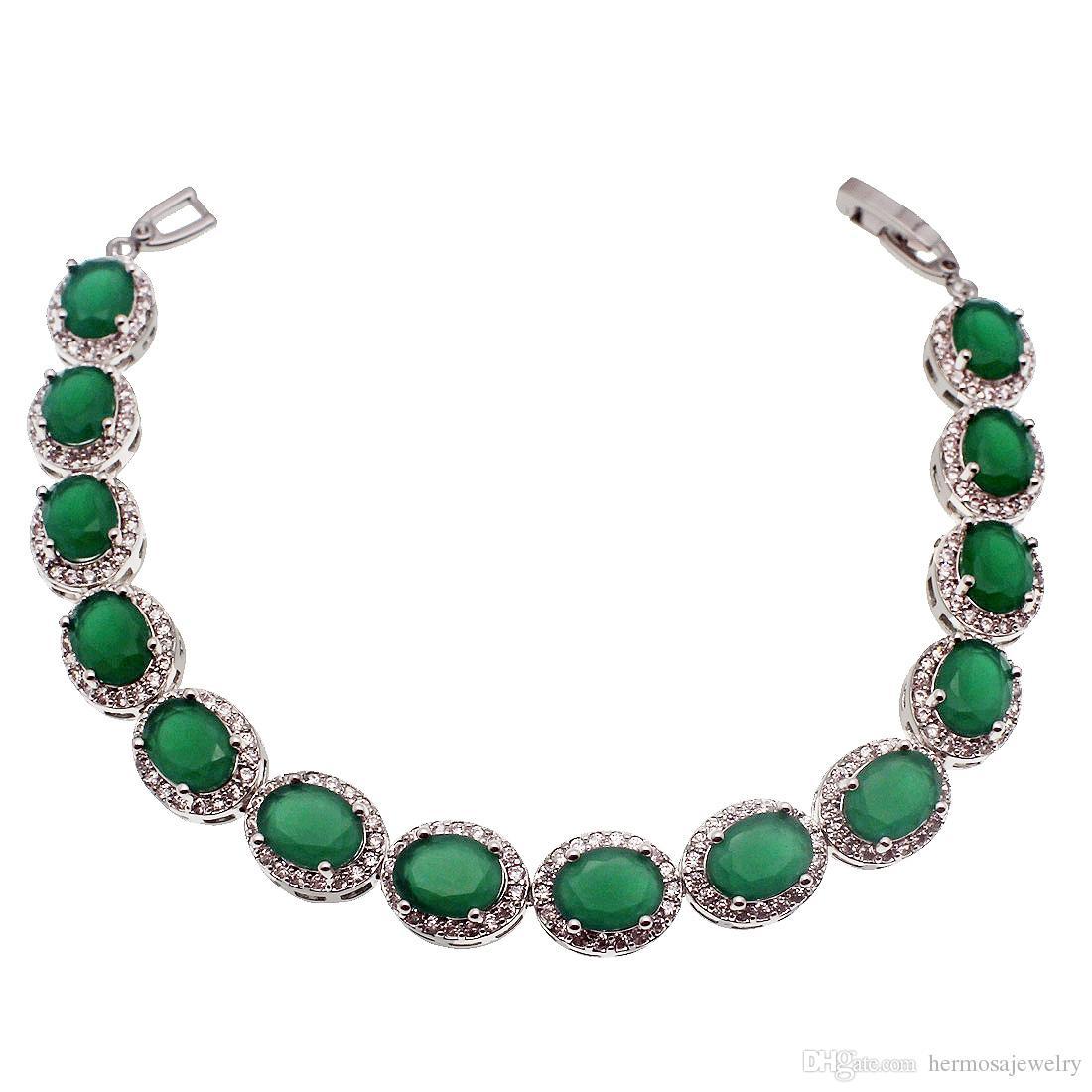 925 فضة الطبيعية الخضراء الزمرد الأصل ستون تنس الروابط الأساور التألق مكعب زركونيا هدايا جميلة الاشتباك