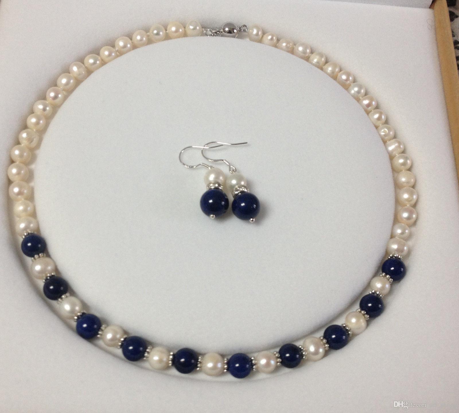 Charmant! Blanc Akoya Perle Cultured / Lapis Lazuli collier boucles d'oreilles set A23