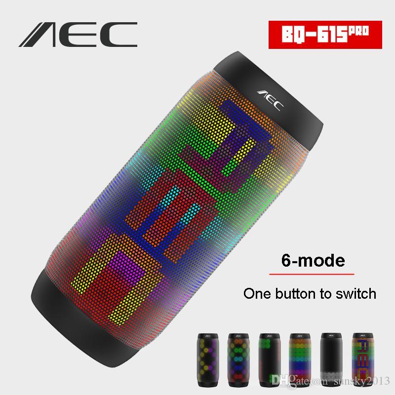 BQ-615 Pro Bluetooth NFC LED Speaker Colorful LED Light Wireless Portable Sound Box Hifi Stereo Speakers Supports Mic FM Radio TF USB Player