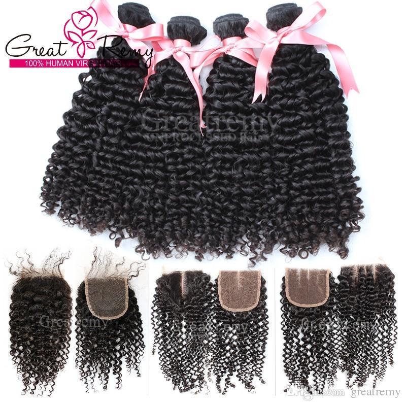 Nyårs försäljning !! Köp 4PCS Virgin Brasilian Bundles Curly Hair Få 1PC Lace Frontlås (4 * 4) Gratis Del / Mellansdel / 3 Way