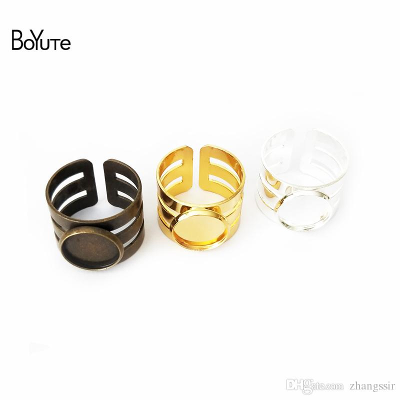 BoYuTe 20Pcs Hollow Out 12MM Cabochon Blank Tray Diy Jewelry Accessories Parts Adjustable Ring Base Settings