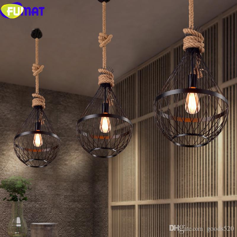 FUMAT Retro Pendant Light American Country Restaurant Light Vintage Industrial Black Iron Pendant Lamps with Hemp Rope