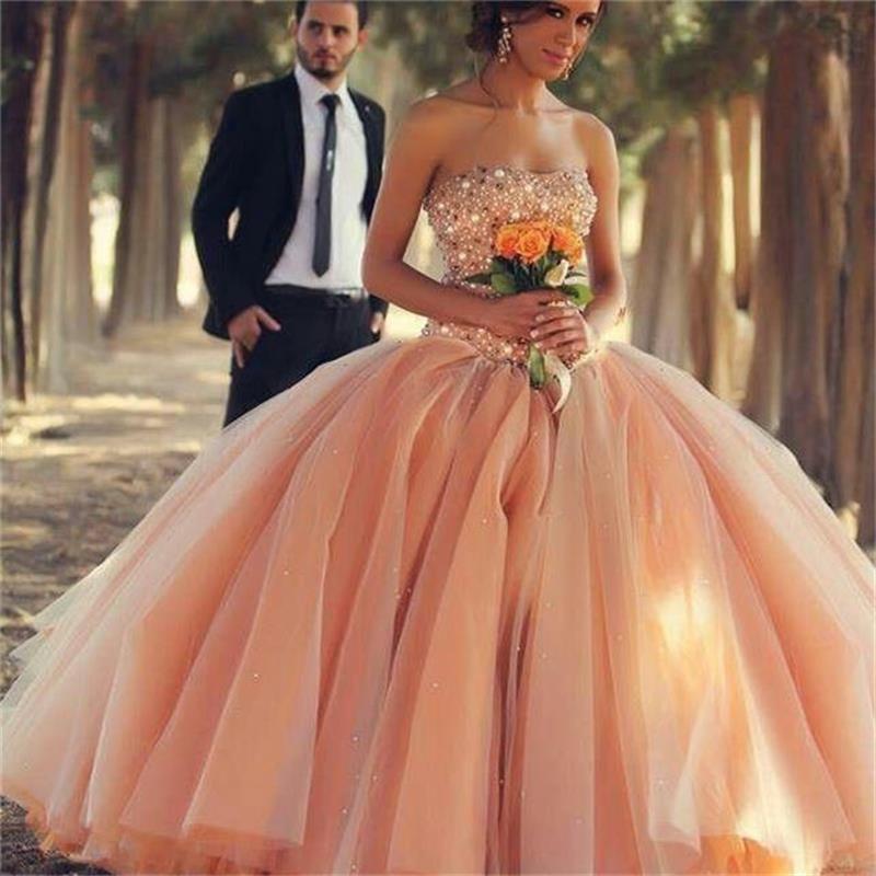 2020 Luxury Orange Arabic Style Bling Wedding Dresses Sweetheart Beaded Pearl Puffy Organza Ball Gown Wedding Dress Plus Size Bridal Gowns