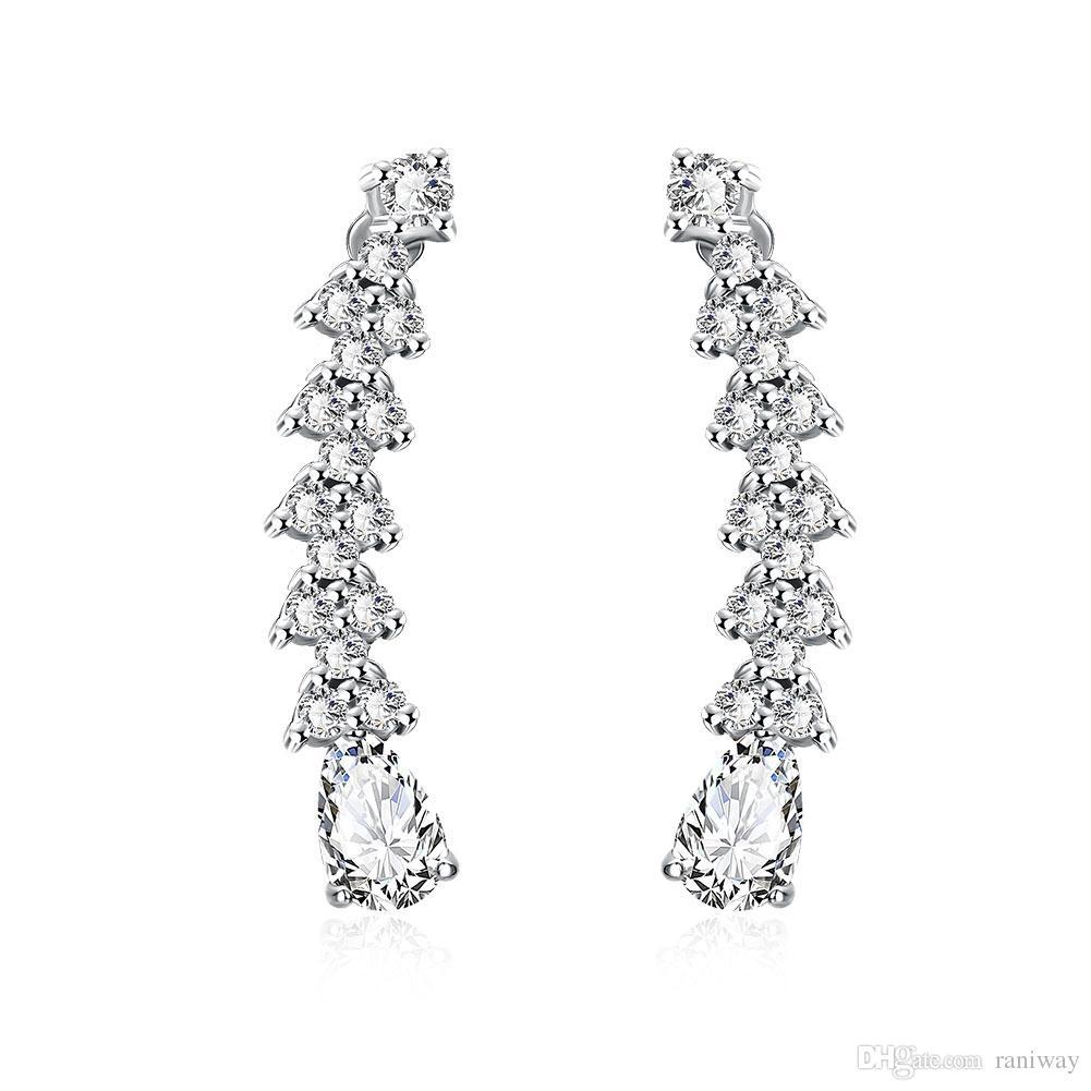 Elegantes Silber überzogene Kupfer Vine Wrap Pin Climbers CZ Kristall Ohr Manschetten Haken Ohrringe für Frauen Mädchen