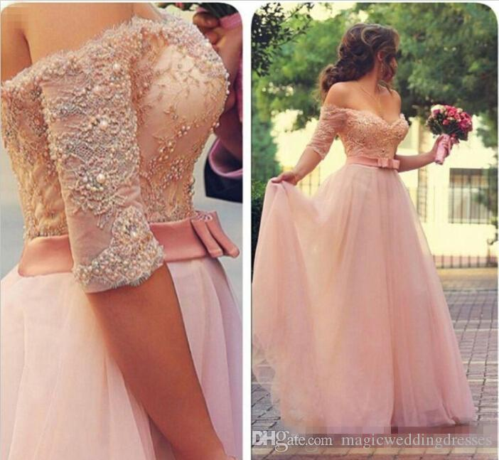 2017 Sexy Off Shoulder Half Long Sleeve A Line Blush Lace Prom Party Dresses Lace Beaded Top Sash Floor Length Evening Occasion Gowns