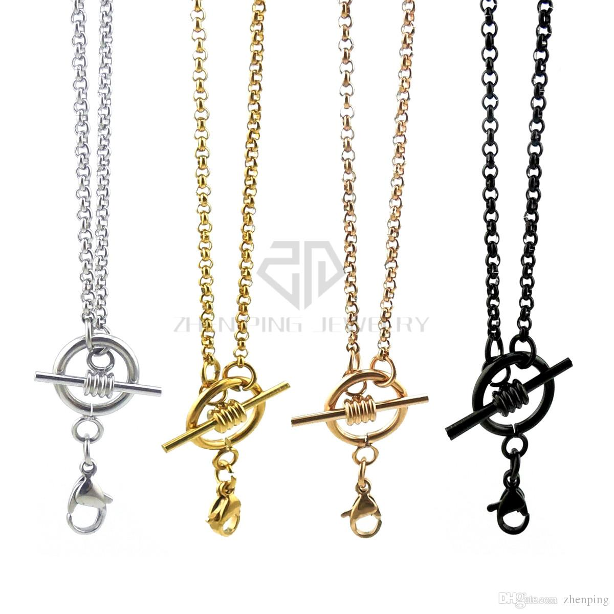 Free shipping silver new design rolo chain with toggle and lobster clasp 14-24 inch can be choose stainless steel rolo chain