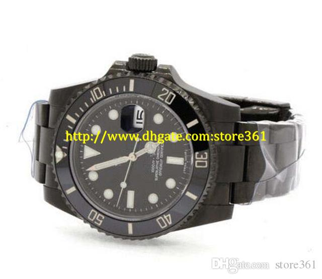 store361 new arrive watches Top High Quality Automatic Mens Watches 16610LN Black Dial PVD