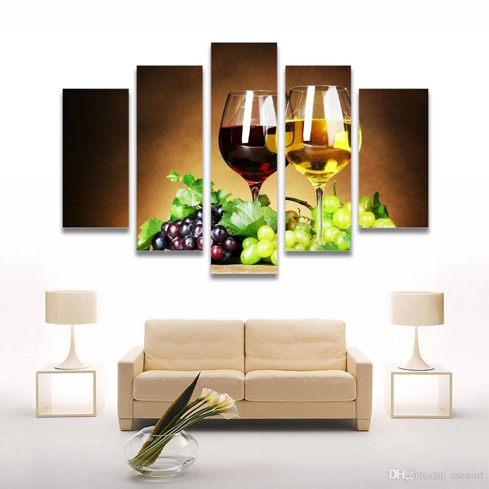 Quadri Per Sala Da Pranzo acquista 5 pannello di vetro dipinto vino frutta pittura su tela stampe a  parete soggiorno cucina sala da pranzo decorazione della casa senza cornice