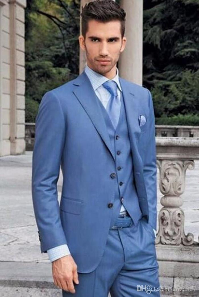 Online Cheap Custom Made Men Suits Royal Blue Men Classic Groom ...