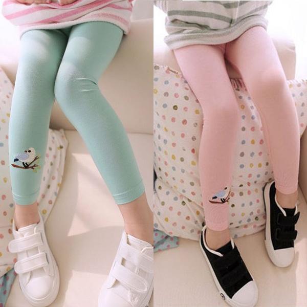 Toddler Kids Girls Baby Cotton Pants Bird Pattern Stretch Warm Leggings Trousers