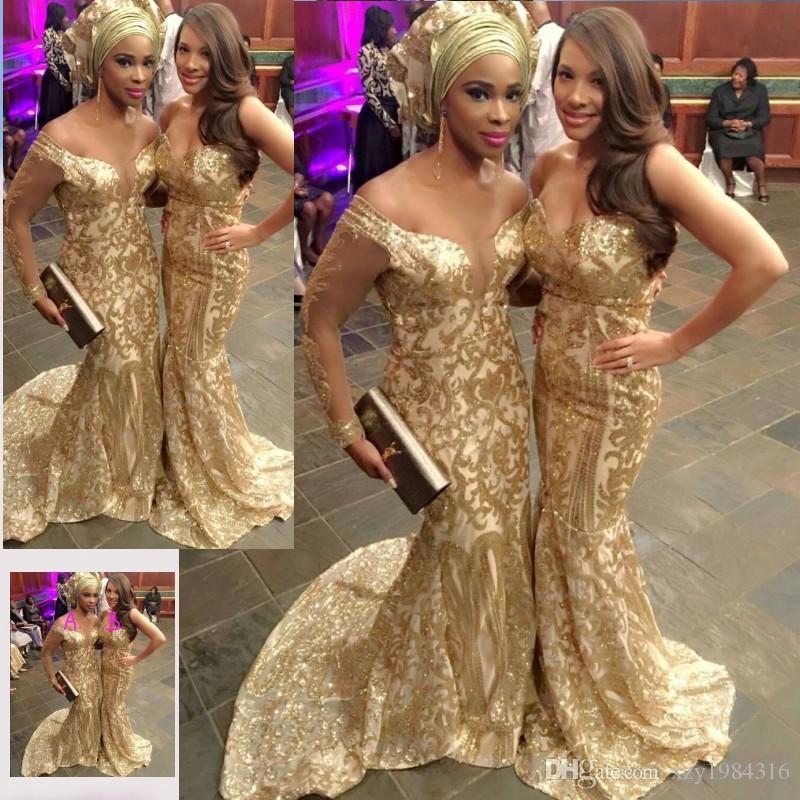 Oszałamiające złote cekiny Sukienka 2017 Moda Aso-Ebi Style Seksowna Długa Długa Sukienka Custom Made Mermaid Uroczy Celebrity Party Dresses