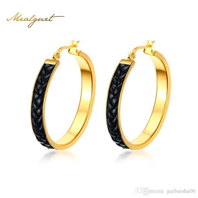 Серьги большой круглый кожаный обруч для женщин роскошные ювелирные изделия Brincos уникальные золотые
