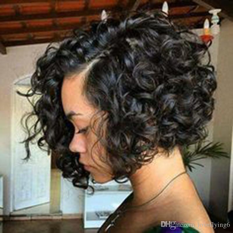 패션 시뮬레이션 인간의 머리 가발 아름다움 짧은 재고 흑인 여성을위한 곱슬 가발을 밥