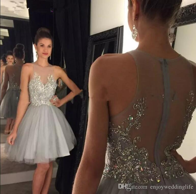 Little Silver Mini Short Homecoming Dresses Lace Appliqued with Crystal Beaded Sheer Back Short Cocktail Dress Party Wear 8 Grade Graduation