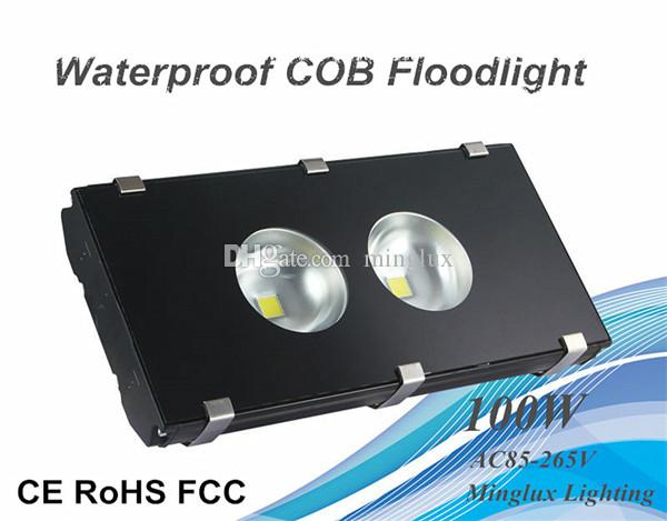 100W Aviation Aluminum Housing LED Floodlight Black Waterproof COB Flood Lamp 10000lm Wall Wash Light AC110V/220V/240V Input