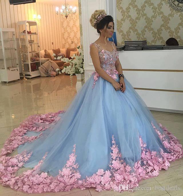 베이비 블루 3D 꽃 가장 무도회 공 가운 2017 럭셔리 대성당 열차 꽃 Quinceanera 드레스 파티 드레스 Sweety Girls 16 Years Dress