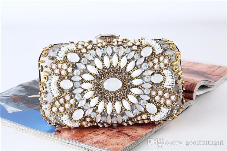 3pc 2017 Nouvelle arrivée à la main sac de soirée perles Vintage mariage club Party sac à main nuptiale d'embrayage Prom bourse de portefeuille de cas fourre-tout sac cosmétique