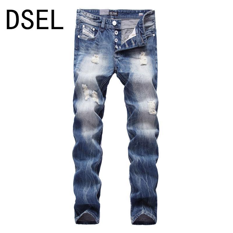 الجملة ، النمط البريطاني مصمم الرجال جينز ممزق جينز عالية الجودة موضة للرجال المتعثرة السراويل ماركة الجينز الرجال اللون الأزرق