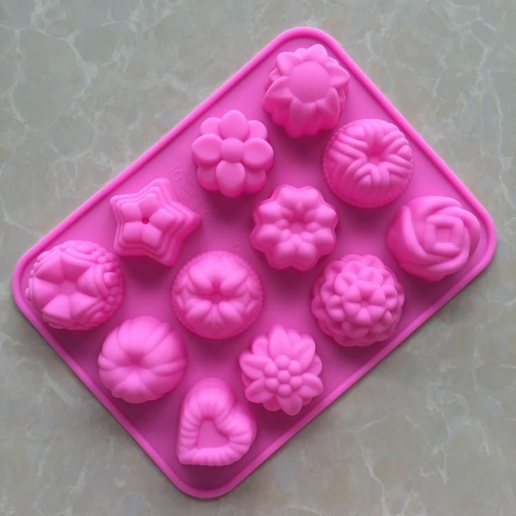 Flower shape silicone Cake Mold 3D chocolate mold Pink 85G fondant decorating Tool Silicon Mold for baking GJM22