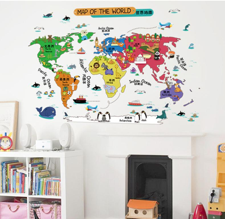 Removable wall stickers cartoon world map stickers with animals removable wall stickers cartoon world map stickers with animals chinese english name kids bedroom kindergarten home gumiabroncs Gallery